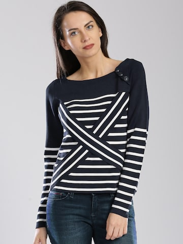 Tommy Hilfiger Gigi Hadid Navy Technical Striped Sweater at myntra