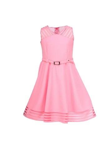 CUTECUMBER Girls Pink Solid Fit & Flare Dress at myntra
