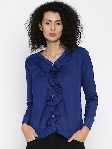 Style Quotient Women Blue Printed Casual Shirt at myntra