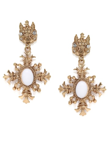 ToniQ Gold-Toned & White Drop Earrings at myntra