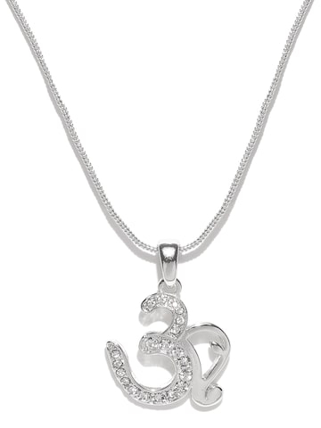 Estelle Silver-Toned Om-Shaped Pendant with Chain at myntra