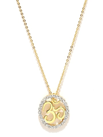 Estelle Gold-Toned Om-Shaped Pendant With Chain at myntra