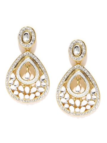 Estelle 24 Carat Gold-Plated Stone-Studded Drop Earrings at myntra