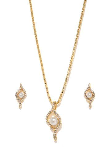 Estelle Gold-Plated Off-White Stone-Studded Jewellery Set at myntra
