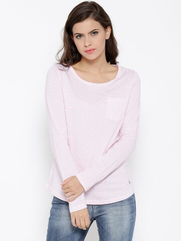 Undercolors of Benetton Women White Striped Round Neck T-shirt at myntra