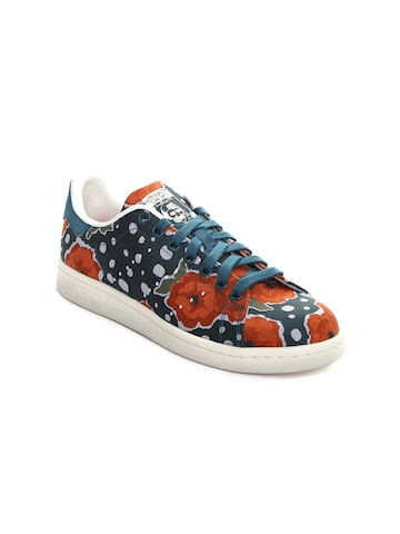 Adidas Originals Women Teal Blue Printed Stan Smith Sneakers at myntra