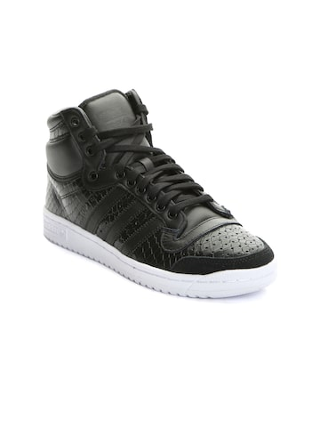 Adidas Originals Women Black Leather High-Top Sneakers at myntra