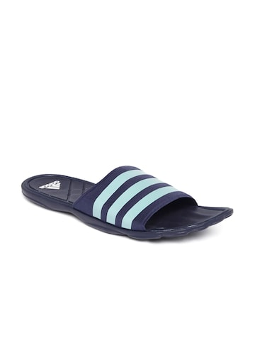 Adidas Men Navy & Light Blue Adipure CF Striped Flip-Flops at myntra