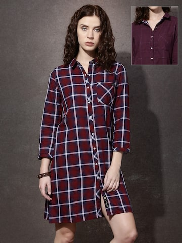 Roadster Women Red & Navy Reversible Checked Shirt Dress at myntra