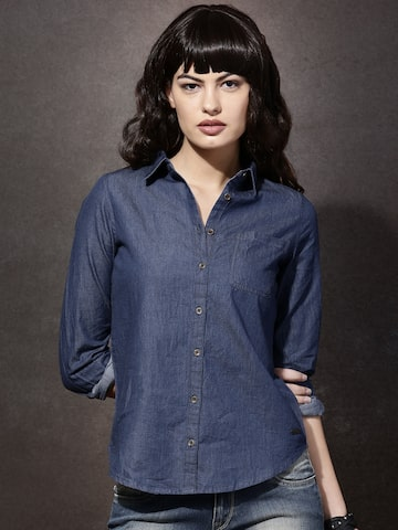 Roadster Women Blue Solid Casual Shirt at myntra