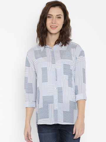 Lee Women Blue Striped Casual Shirt at myntra