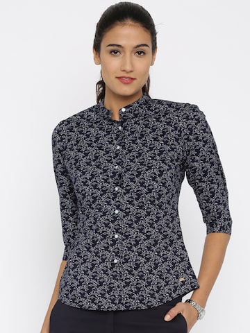 Park Avenue Women Navy & White Floral Print Casual Shirt at myntra