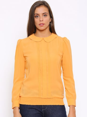Park Avenue Women Yellow Solid Blouson Top at myntra