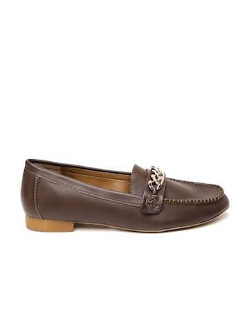 Carlton London Women Brown Leather Loafers at myntra