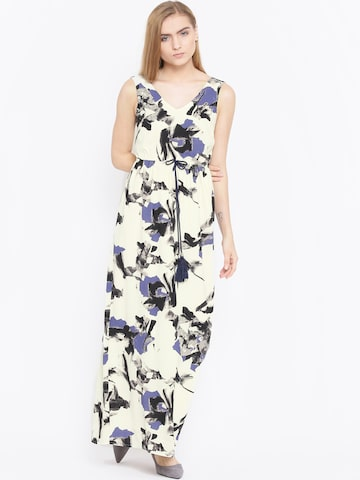 Vero Moda Women Off-White & Black Printed Maxi Dress at myntra