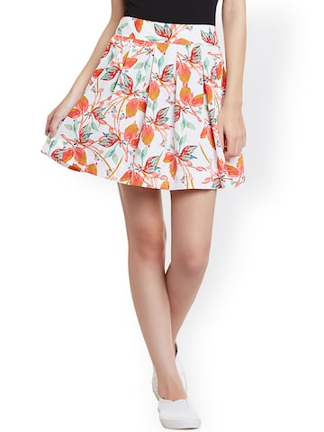 STREET 9 White Floral Print Polyester Flared Skirt at myntra