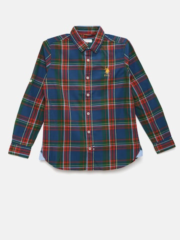 U.S. Polo Assn. Kids Boys Navy Blue Checked Casual Shirt U.S. Polo Assn. Kids Shirts at myntra