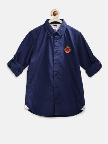 U.S. Polo Assn. Kids Boys Navy Solid Casual Shirt at myntra