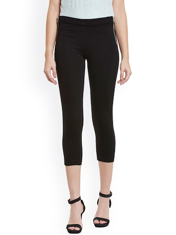 Cherymoya Women Black Solid Slim Fit Flat-Front Trousers at myntra