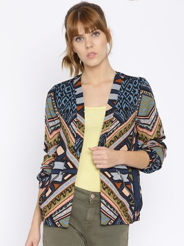 Vero Moda Blue Printed Shrug at myntra
