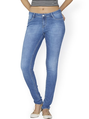 Kraus Jeans Women Blue Mid Rise Clean Look Jeans at myntra