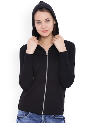 Campus Sutra Black Hooded Sweatshirt at myntra