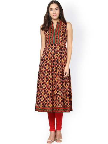 Libas Women Black Printed Anarkali Kurta at myntra