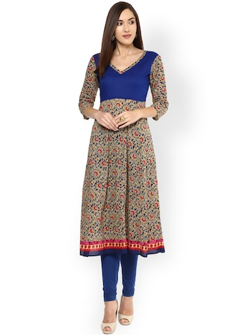 Libas Women Beige & Blue Printed Anarkali Kurta at myntra