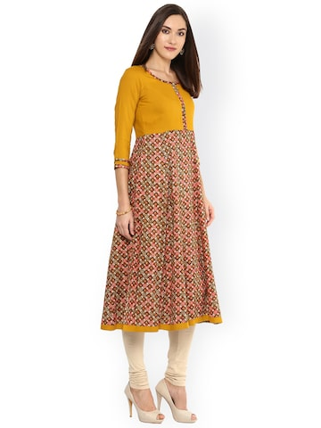 Libas Women Mustard Yellow Printed A-Line Kurta at myntra