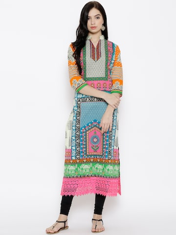Jashn Women Multicoloured Printed Straight Kurta at myntra