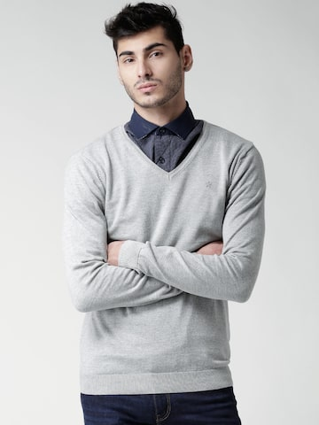 Celio Men Grey Melange Solid Sweater at myntra