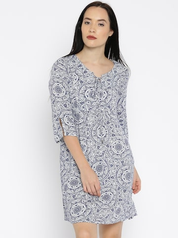 Noi Off-White & Blue Printed A-Line Dress at myntra