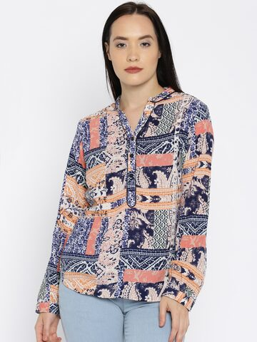 Noi Women Navy Blue Printed Top at myntra