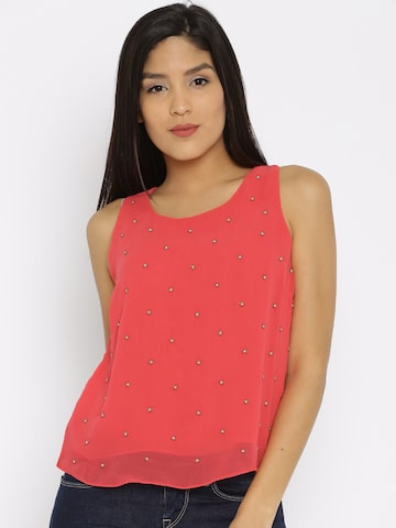 Noi Women Coral Pink Self-Design Top at myntra