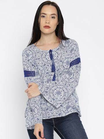 Noi Women Navy Blue & White Printed Top at myntra