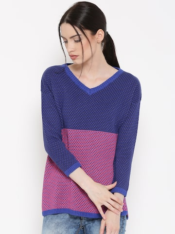 United Colors of Benetton Women Blue Patterned Sweater at myntra
