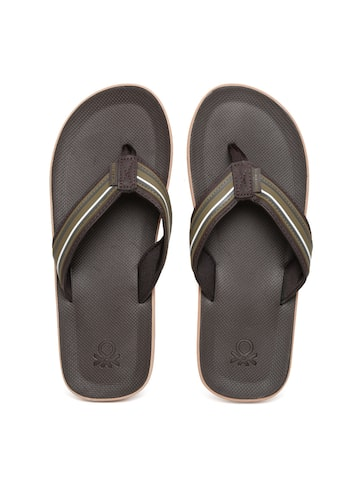 United Colors of Benetton Men Olive Green Striped Flip-Flops at myntra