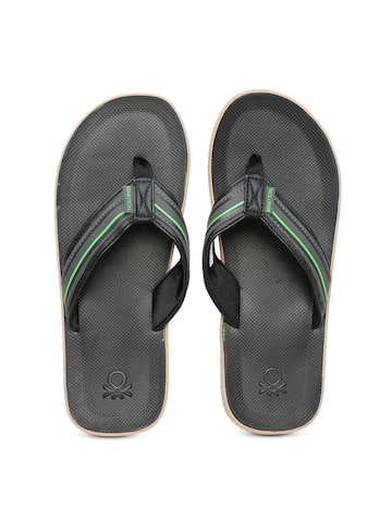 United Colors of Benetton Men Black Striped Flip-Flops at myntra