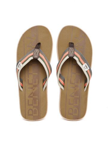United Colors of Benetton Men Brown Striped Flip-Flops at myntra