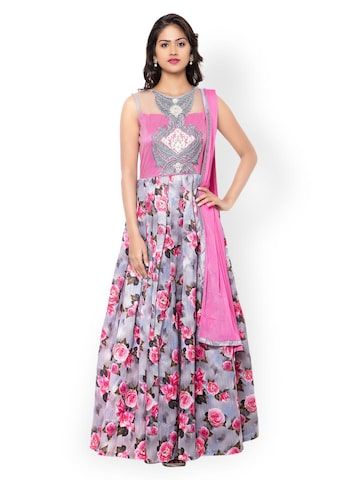 Inddus Grey & Pink Embroidered Unstitched Dress Material at myntra