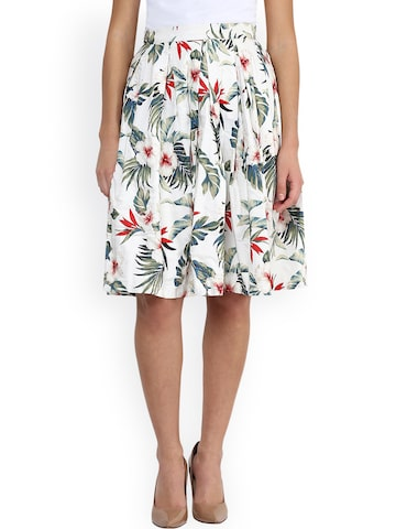 Miss Chase White Floral Print A-Line Skirt at myntra