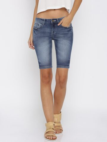 Jealous 21 Women Blue Washed Denim Shorts at myntra