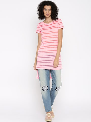 Jealous 21 Women Pink Striped High-Low Top at myntra
