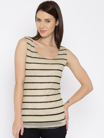 Jealous 21 Women Beige & Golden Striped Shimmer Top at myntra