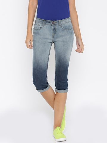 Jealous 21 Blue Denim Capris at myntra