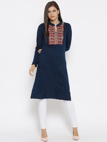 RANGMANCH BY PANTALOONS Women Dark Blue Embroidered Straight Winter Kurta at myntra