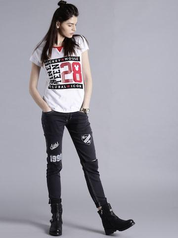 Kook N Keech Women Charcoal Grey Mid Rise Slash Knee Jeans at myntra