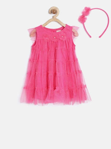 Nauti Nati Girls Pink Embellished Tiered A-Line Dress at myntra