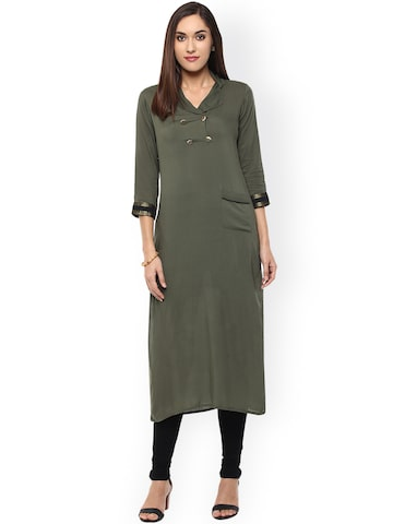 Raindrops Women Olive Green Solid Straight Kurta at myntra