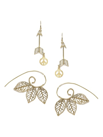 Blueberry Set of 2 Gold-Toned Drop Earrings at myntra